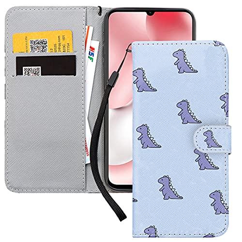 Yoedge Handyhülle für Xiaomi Redmi Note 8T Lederhülle, Lila Premium Leder Flip Hülle mit Exquisites Cartoons Muster Brieftasche Klapphülle Handytasche Hülle für Redmi Note 8T 6,3-Zoll, Dinosaurier