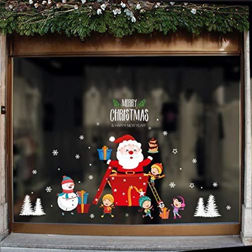 RngCarSticker Pegatinas navideñas para Ventanas, Pegatinas navideñas para Pared, 45x60 CM Adornos navideños Festivos Pegatinas Decorativas para escenas navideñas Pegatinas para Ventanas de Vidrio