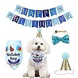YUET - Pañuelo para perro, gato y mascota, para cumpleaños, con lazos y gorro adorable para niñas y niños, bufanda de disfraces para suministros de