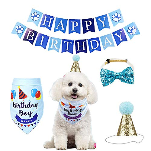 YUET - Pañuelo para perro, gato y mascota, para cumpleaños, con lazos...