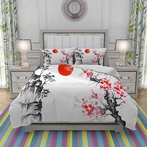 JOLIEAN Duvet Cover Set-Bedding,Japan Traditional Japanese Painting Sumi E Art Sun Sakura,Quilt Cover Bedlinen-Microfibre 140x200cm with 2 Pillowcase 50x80cm