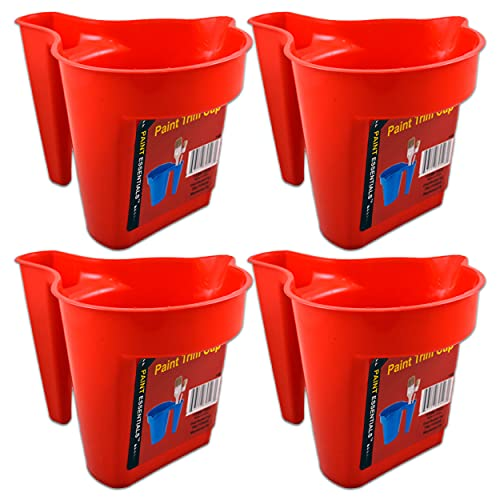 Paint Cups Pails 4 Pack -- Paint Buckets Plastic Paint Trim Cup with Handle   Painting Supplies for Home Improvement (Paint Supplies for Painting Walls)
