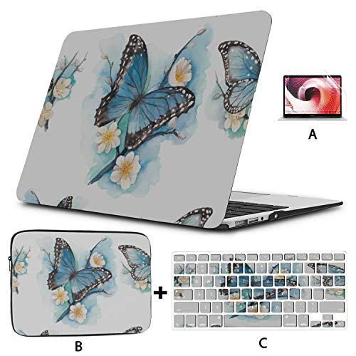 Macbook Air 13 Inch Case 2020 2019 2018, Blue Butterfly On Blossom Plum Plastic Hard Shell,sleeve Bag,keyboard Cover,screen Protector Compatible With Macbook Pro 13 Inch Usb-c