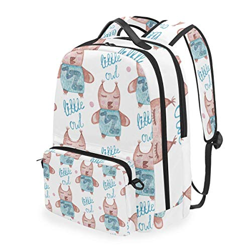 Seamless Pattern Cute Cartoon Watercolor Little,School Backpack with Removable Pencil Case, 2 in 1 Travel Daypack Fits 15 Inch Laptop for Girls or Boys