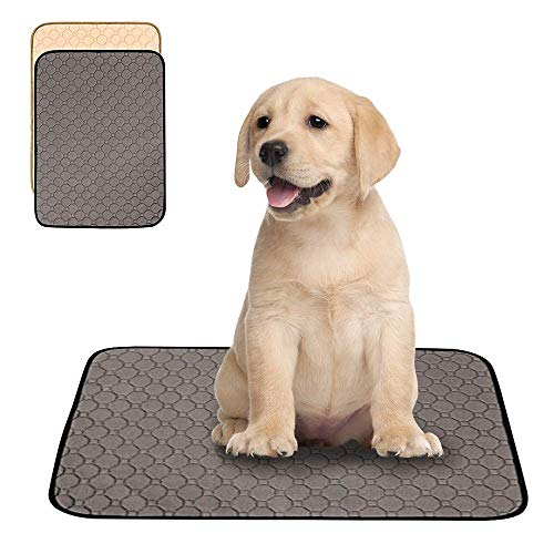Pawtastic 2 Pack Washable Dog Pee Pads,Reusable Dog Training Pads,Puppy Training Pads,Puppy Pee Pads,Waterproof Whelping Pads,Travel Pet Pee Pads (Medium (26.38x19.69 in) 2 Packs, Grey+Tan)