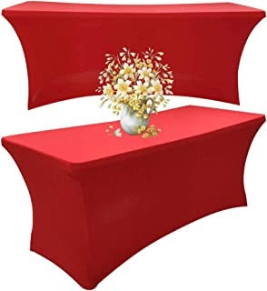 BincaBom Pack of 2 Stretch Tablecloth Rectangular Spandex Table Cover for DJ Tradeshows Vendors Weddings 6 ft Red