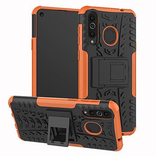 xinyunew Galaxy A8S Hülle, Handyhülle Hülle 360 Grad Ganzkörper Schutzhülle+Panzerglas Schutzfolie Schützend Handys Schut zhülle Tasche Cover Skin mit Ständer für Galaxy A8S Orange