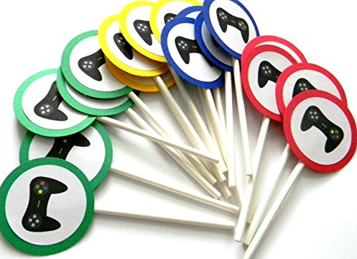 Bright Game Controller Cupcake Toppers - Set of 12