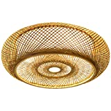 Luz de techo Decoración moderna Estilo rural redonda Luces colgantes de bambú Ratán natural Creativo E27 Iluminación de techo Pantalla de lámpara hecha a mano Restaurante Dormitorio sala de estar,60cm
