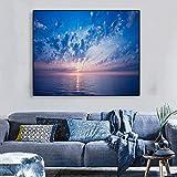 hetingyue Leinwand Kalligraphie Malerei Ozean Hellrosa Morgengrauen blauen Himmel Bild Wohnzimmer Dekoration rahmenloses Bild 45x60cm
