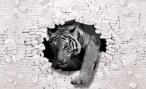 Forwall Fototapete 3D Effekt Tiger Tiere Ziegelwand Moderne Wohnzimmer Schlafzimmer Vlies Tapete Wandtapete UV-Beständig Hohe Auflösung Montagefertig… (10400, V8 (368x254 cm) 4 Bahnen)