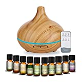MEVA 500 ml difusor aceite aromas esencial aromaterapia con 10 esencias de REGALO, ULTRASONICO, 7 colores LED, humificador de aceite esencial (MADERA BAMBU)