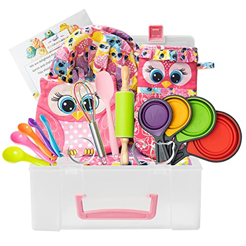 Kids Cooking and Baking Gift Set with Storage Case – Complete Cooking Supplies for The Junior Chef – Real Accessories and Utensils – 21 Piece Cookware Kit – for Girls & Boys Ages 4-12 Years Old