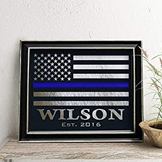 Personalized Police Officer Gift, Thin Blue Line Flag, Real Foil Print