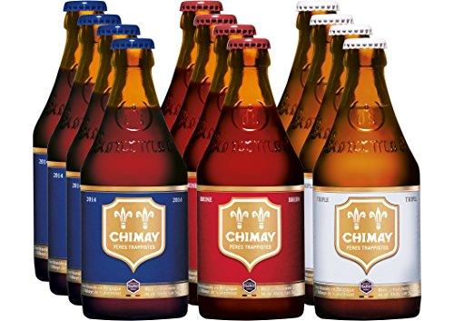 Chimay Trappist 12er Paket (je 4x Chimay Rouge + Chimay Bleue + Chimay Tripel) Bier, komplexe Klosterbiere, Bier wie Wein, Geschenk, Mann, Frau, Gourmet, Weinliebhaber