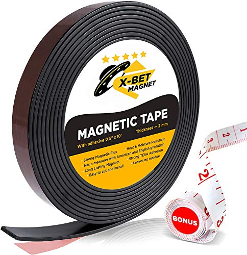 X-bet MAGNET Flexible Magnetic Strip - 1/2 Inch x 10 Feet Magnetic Tape with Strong Self Adhesive - Perfect Magnetic Roll for Craft and DIY Projects - Sticky Anisotropic Magnets