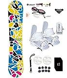 womens 140 snowboard package - 135-140 Joyride Letters Womens Girls Snowboard +Bindings Package +Leash+Stomp+Sunglasses+ Roxy Decal (Bindings White S (fit 6-9), 140cm Letters (N3))