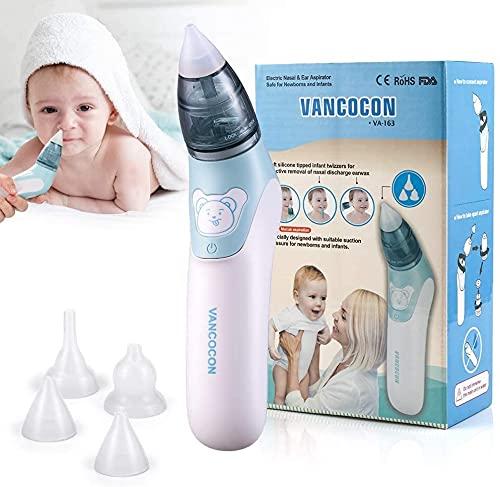 Aspiratore nasale, Uman® 2 in 1 Detergente per naso elettrico per bambini e rimozione cerume per orecchie con 4 ugelli riutilizzabili per ventose per neonati, bambini piccoli e neonati