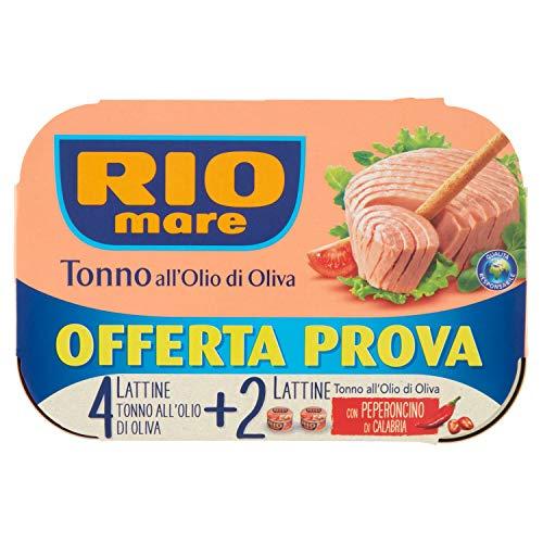 Rio Mare, Tonno all'Olio di Oliva, Qualità Pinne Gialle, 6 Lattine da 80 g (4 Lattine all'Olio di Oliva + 2 al Peperoncino)