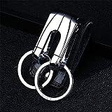 Ysss Cinturón de Cuero de Alto Grado Hebilla Llavero Cintura de Doble Bucle para Hombre Llavero para...