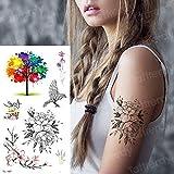 Handaxian 3 Piezas Tatuaje Pegatina Flor Tatuaje Mujer Flor única Pegatina Tatuaje calcomanía Mujer Arte Corporal pájaro Jaula