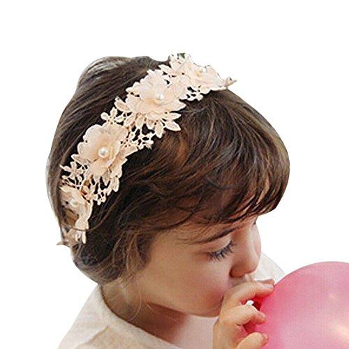 FSSTUD Enfant Fille Dentelle Bandeau Cheveux Mariage Couronne de Fleur pour Accessoire Cheveux Rose