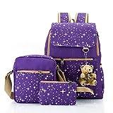 Hotrose 3x Girl School BagsTravel Canvas Rucksack Backpack School Shoulder Bag Crossbody Messenger Bag, Purple Bear,