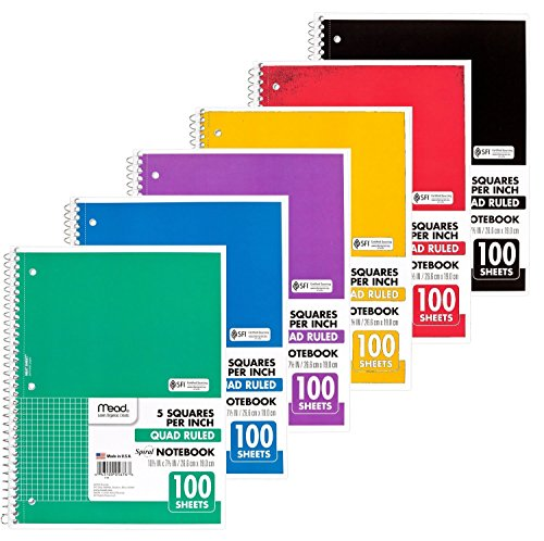 Mead Spiral Quad Ruled Notebook, 1 Subject 5 Squares per inch 100 Sheets, 6 Pack