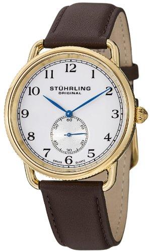 Stuhrling Original Men's 207.03 Classic Cuvette Swiss Quartz 23K Gold Plated Brown Genuine Leather Strap Watch