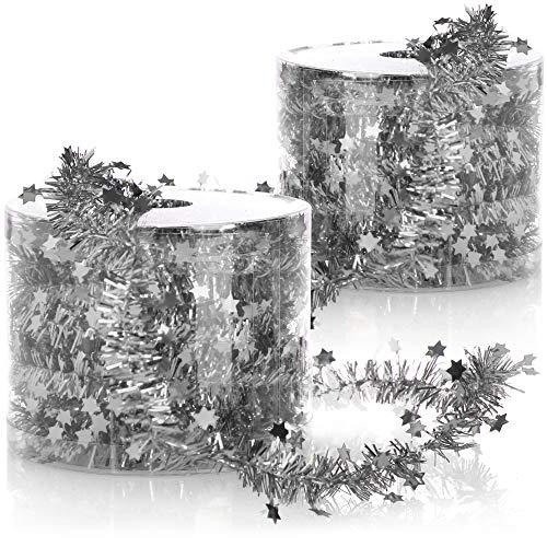 com-four® 2X ghirlande di Filo con Stelle - per Natale - Ghirlanda Natalizia per Decorazioni per Albero di Natale - Decorazione per Ghirlanda dell'Avvento - 7 m ciascuna (Color Argento - 2 Pezzi)