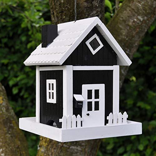 VOSS.garden Dänisches Futterhaus Skagen in Schwarz, zum Aufhängen, Wetterbeständig, Schwedenhaus-Design, Vogelhäuschen Futterstation Vogelhaus Vogelfutterspender