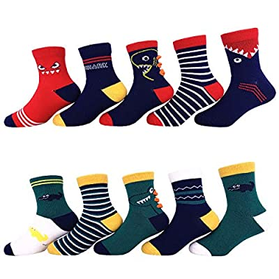 Toddler Little Boys Cotton Crew Socks 10 Pack