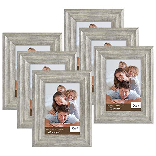 Picture Frames 5x7 Silver Grey (set of 6 Pack) - Rustic Farmhouse Wooden Frame - Photo Frame with Polished High Definition Glass for Table Top and Wall Mounting
