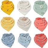 ALISTAR Baby Lätzchen Dreieckstuch mit 2 Verstellbare Druckknöpfe 9 Stück Baumwolle Halstücher für Junge Mädchen Kleinkinder
