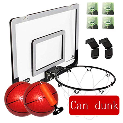 Mini Basketball Board, Wall-Mounted Portable Children's indoor en outdoor sporten toy met tennis en luchtpomp, vrij van gaten, met apart frame, Black li (Color : Black)