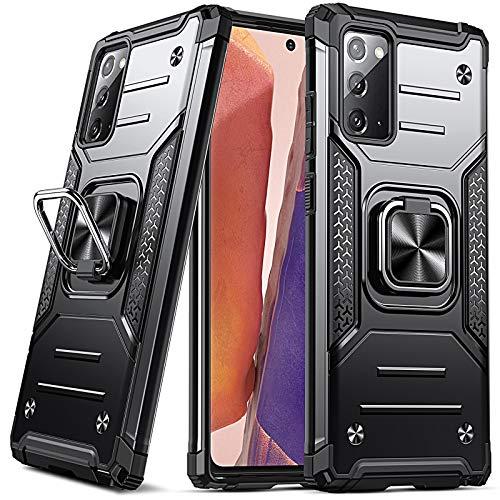DASFOND Armor Hülle für Samsung Galaxy Note 20 5G Hülle Militärische Stoßfeste Handyhülle [Upgrade 2.0] Cover 360 ° Ständer mit Auto Magnet,Schwarz