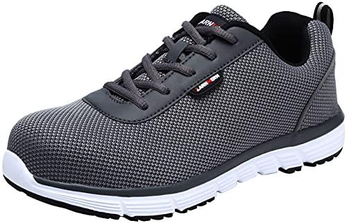 LARNMERN PLUS Zapatos de Seguridad Hombre Ligero Transpirable Zapatos de Trabajo Punta de Acero Calzado de Trabajo para Comodas (Gris Oscuro y Blanco,42 EU)
