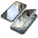 iPhone XS ケース iPhoneX カバー アルミ バンパー 透明 両面 強化ガラス 360°全面保護 アイフォンX/XS カバー マグネット式 ワイヤレス 充電対応 軽量 薄型 擦り傷防止 耐衝撃 シルバー
