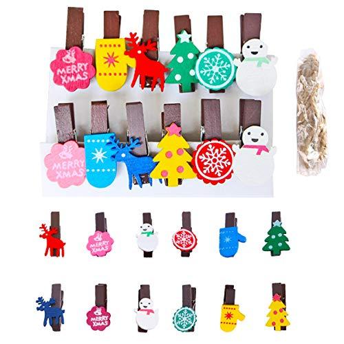 Qiundar Pinzas de Madera de Colores 72 Pcs Clips de Madera Mini Pinzas de Madera para Colgar Fotos Regalos Decoración Navidad Pinzas (3.5X0.7CM)