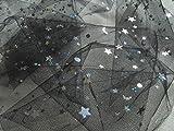 Tüll schwarz Stoff Meterware Feintüll MOND und Sterne