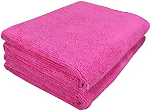 SOFTSPUN Microfiber Cloth - 2 pcs - 40x60 cms - 340 GSM Pink - Thick Lint & Streak-Free Multipurpose Cloths - Automotive Microfibre Towels for Car Bike Cleaning Polishing Washing & Detailing