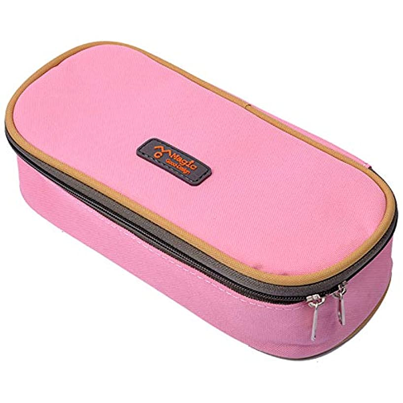 eZAKKA Pencil Case, Student Pen Pencil Case Desktop Office Storage Organizer Pen Pencil Holder Organizer Basket Coin Purse Pouch Cosmetic Makeup Bag (Pink)