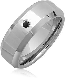 Mysticdrop 0.25-0.28 Cts Black Diamond 8 mm Beveled Edged Grooved Tungsten Wedding Band-12.0