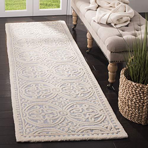 Safavieh Strukturierter Teppich, CAM123, Handgetufteter Wolle Läufer, Hellblau/Elfenbein, 62 x 240 cm