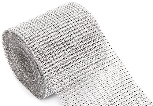 jollylife Silver Diamond Rhinestone Ribbon Wrap Bulk DIY Bling 30 Feet - Birthday/Bridal Shower/Wedding Cake Vase Decorations, Party Supplies