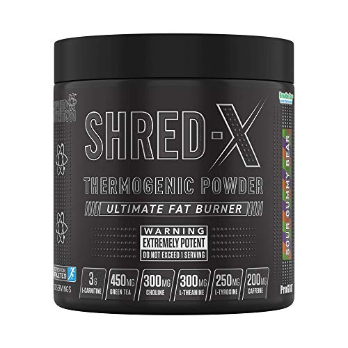 Applied Nutrition Shred X Thermo Powder - Weight Loss, Fat Burner with Green Tea, L Carnitine, Theanine, Tyrosine, Thermogenic Energy Detonator Supplement, Shred-X 300g - 30 Servings (Sour Gummy Bear)