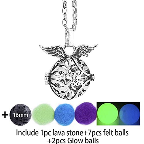 Gift Pendant Aromatherapy Diffuser Necklace Locket Necklace Glow In The Dark Necklace Felt Lava Stone Angel Wing Necklace For Essential Oil (Color : 70cm, Size : 2)