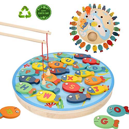 Ulikey 2 In 1 Angelspiel Holz Alphabet Brief, 30 Stück Fische Angeln Spielzeug Tischspiele Geschenk Lernspielzeug Montessori Spielzeug Geschenk für Mädchen Jungen Kinder