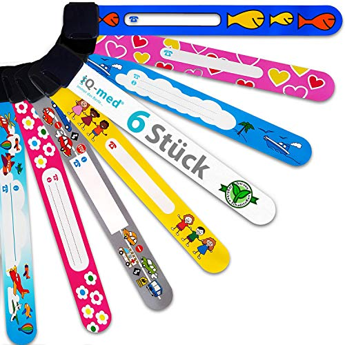 Notfall-Armband für Kinder von iQ-med | 6er Set, wasserfest, mit jedem Kulli beschreibbar | wiederverwendbar (Jungs)