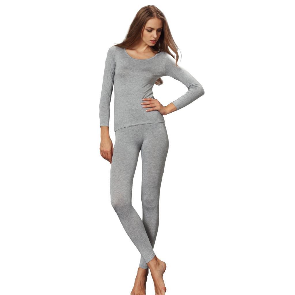 Liang Rou Womens Crewneck Long Johns Ultra Thin Modal Thermal Underwear Top /& Bottom Set